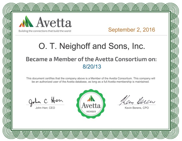OTN continues certification with AVETTA, formerly PICS Auditing