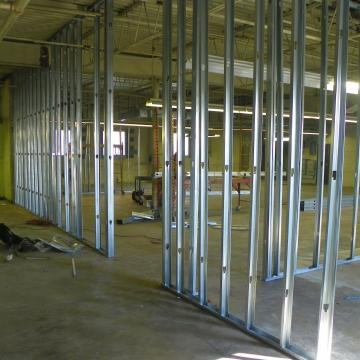 Frame out of warehouse for new office commercial office space