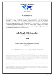 O. T. Neighoff's 2013 Contractor Score