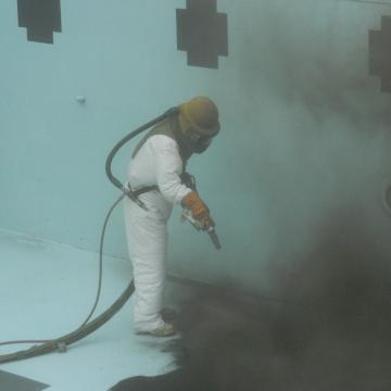 Abrasive Blasting of Pool Surface