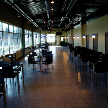 New employee cafeteria with decorative resinous floor