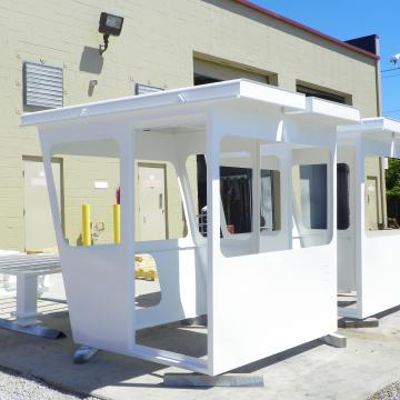Guardshacks for a secure facility blast, primed & coated at OTN Shop, ready for delivery and reinstallation.
