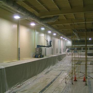 The block walls receiveacrylic finish coat.